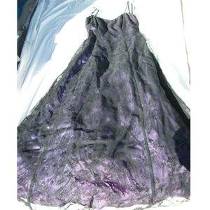Morgan & Co. Black/Purple Floor Lngth Formal Dress